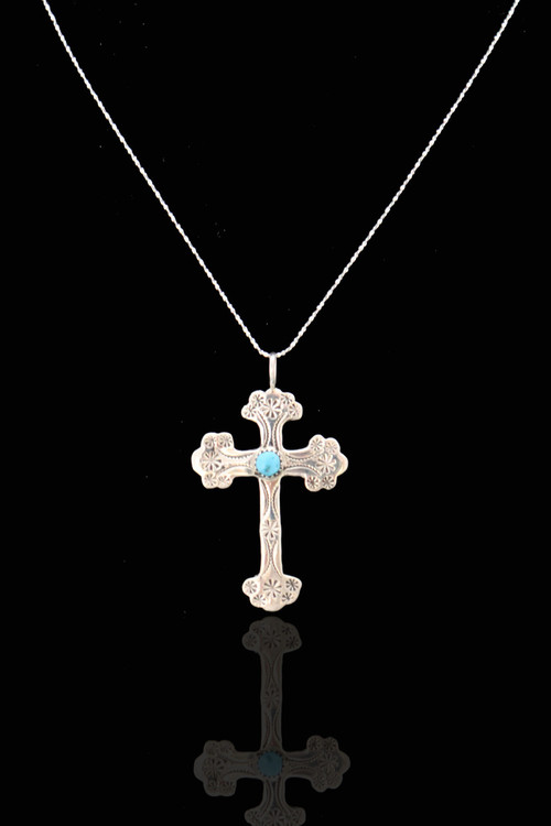Luyu Sterling Silver & Turquoise Starburst Cross