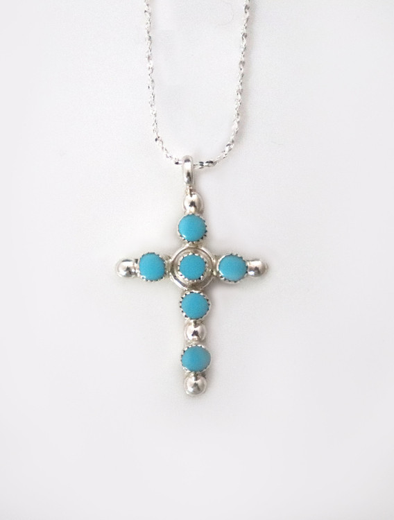 Luyu Small Six-Stone Sterling Cross