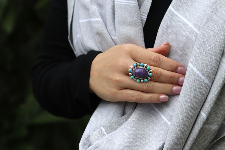 Lana Turquoise & Charoite Ring in Sterling Silver Size 7.5