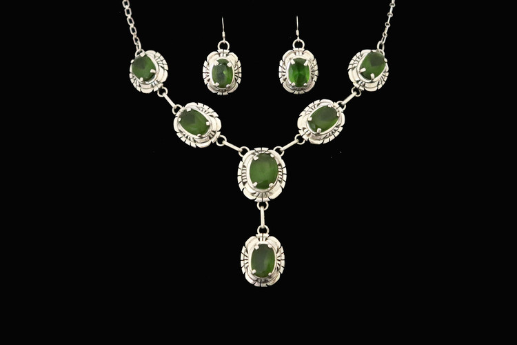 Lana Green Garnet & Sterling Silver Necklace & Earrings