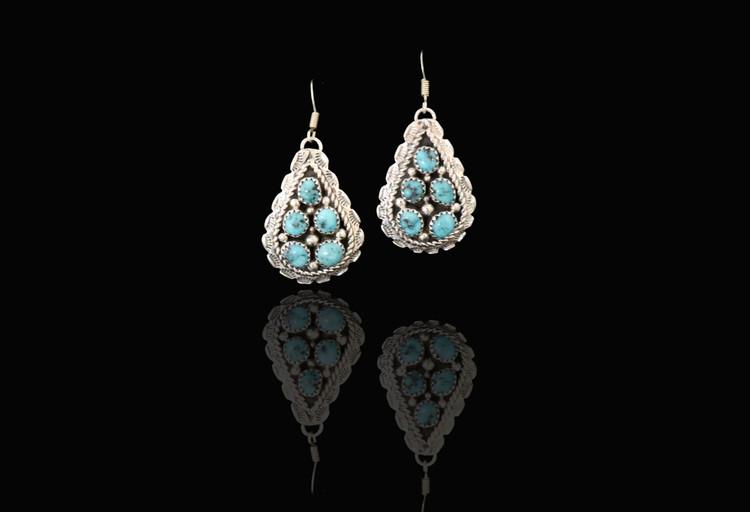 Etu Turquoise & Sterling Silver Teardrop Cluster Earrings