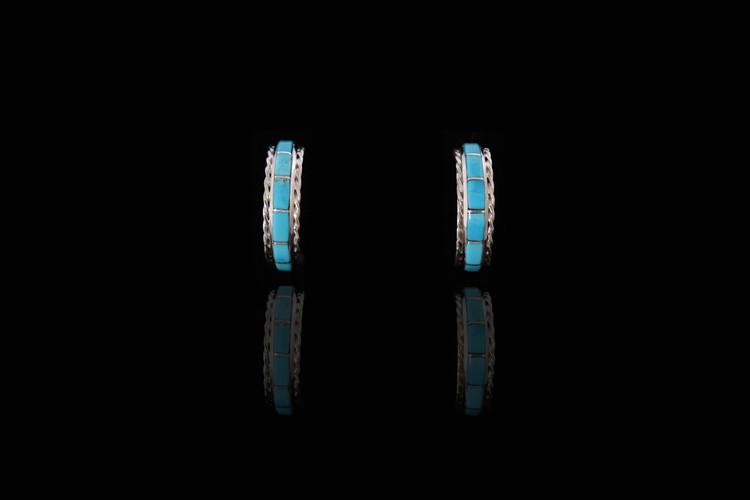 Fala Inlaid Turquoise Sterling Silver Hoop Earrings