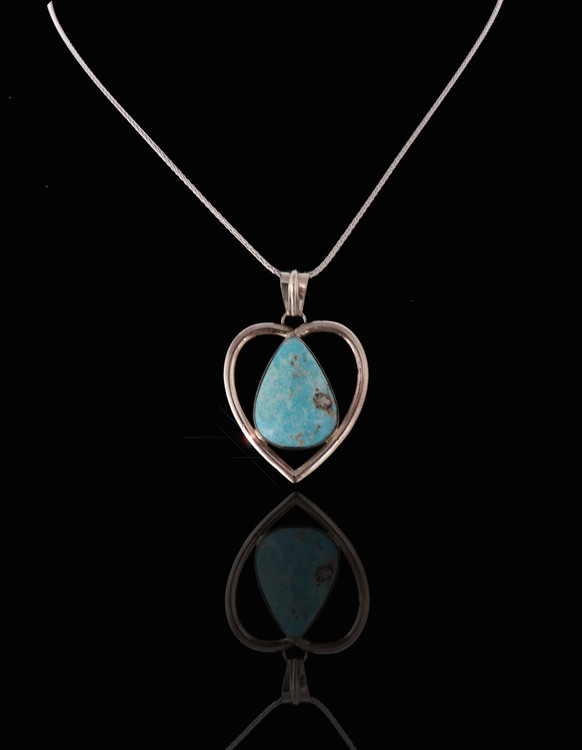 Dokoko Turquoise & Sterling Silver Heart Pendant & Chain