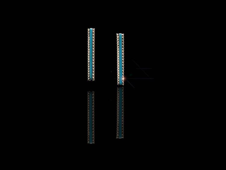 Bila Turquoise & Sterling Silver Bar Earrings