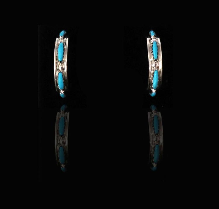 Pelipa Turquoise & Sterling Silver Half-Hoop Earrings