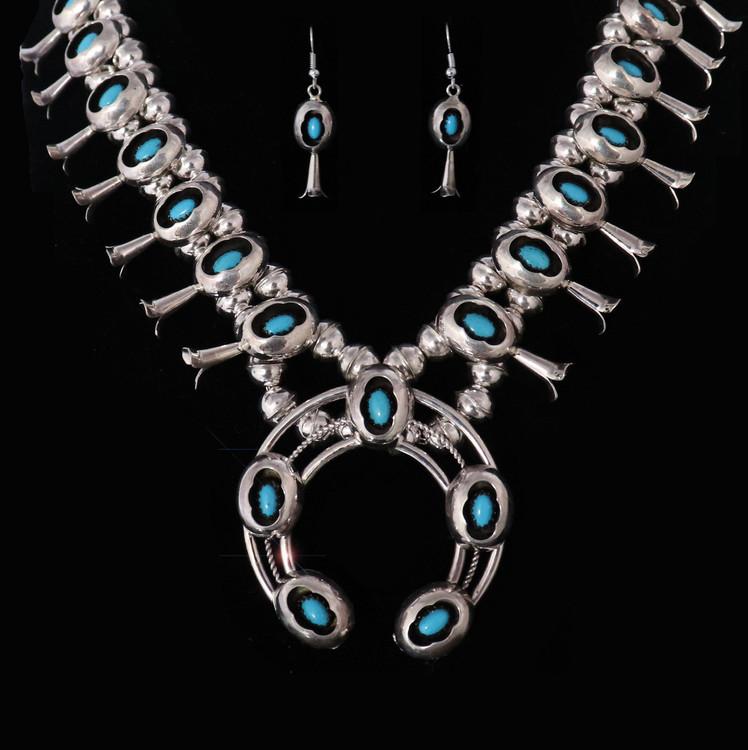 Lana Petite Shadow Box Squash Blossom Necklace & Earring Set