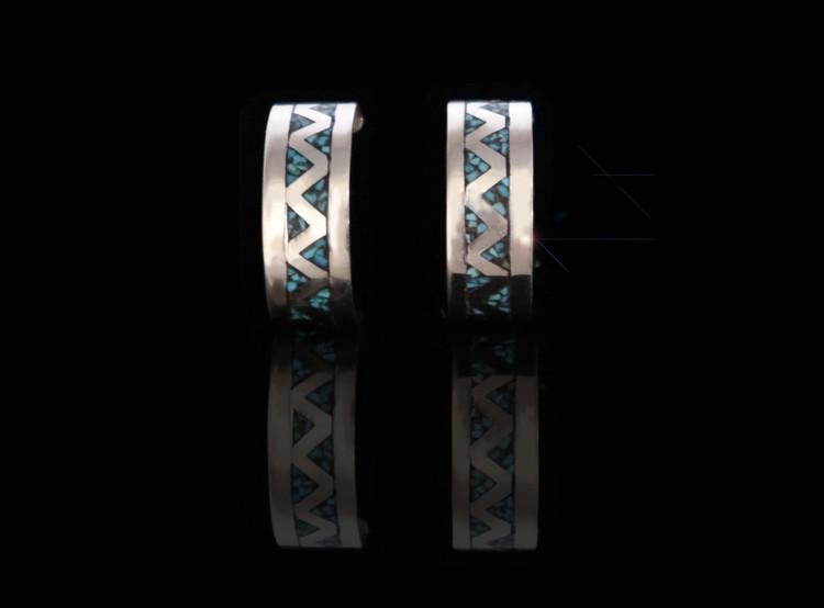 Fala Turquoise & Sterling Silver Half-Hoop Earrings