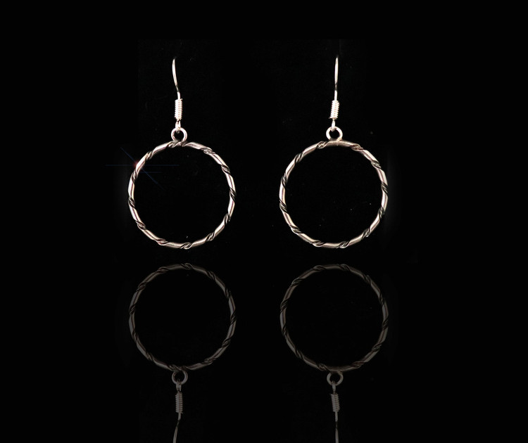 Haba Sterling Silver Dangle Hoop Earrings