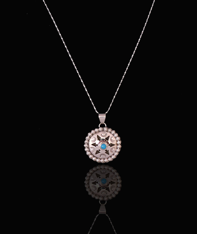 Luyu Turquoise & Sterling Silver Medallion Pendant & Chain
