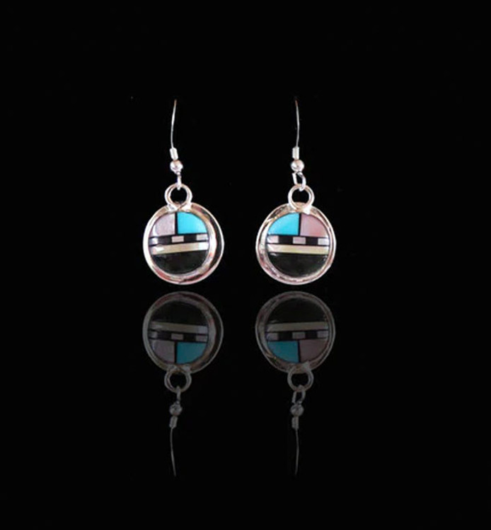 Fala Sunface Sterling Silver & Multi-Stone Inlay Earrings