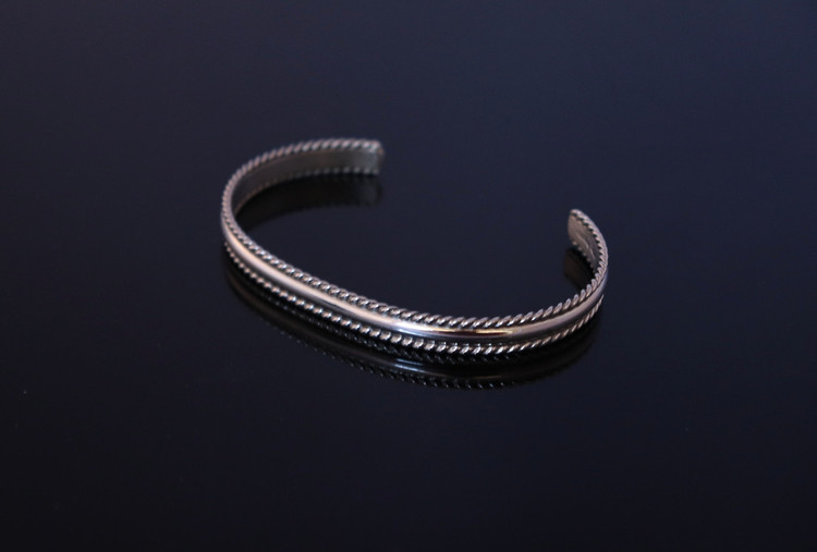 Aiyana Sterling Silver Cuff Bracelet with Roped Edging