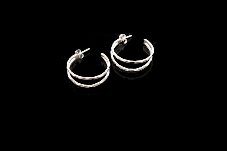 Aiyana Sterling Silver Hammered Double Hoop Earring