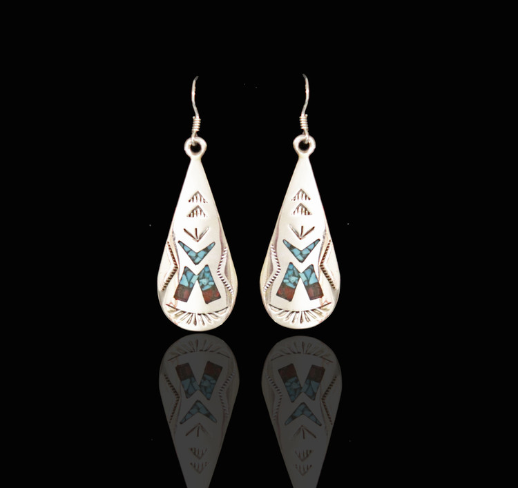 Fala Sterling Silver Earrings with Inlay Tepee Design