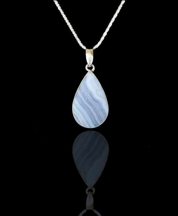 Blue Lace Agate Pendant & Chain