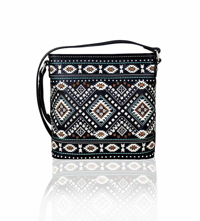 Montana West Aztec Embroidered Crossbody Bag - Black