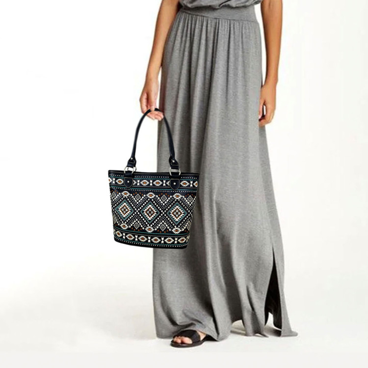 Montana West Aztec Embroidered Concealed Carry Tote - Black