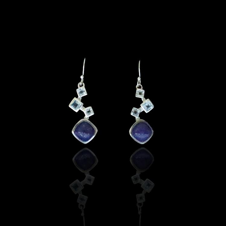 Blue Lapis & Blue Topaz Drop Earrings
