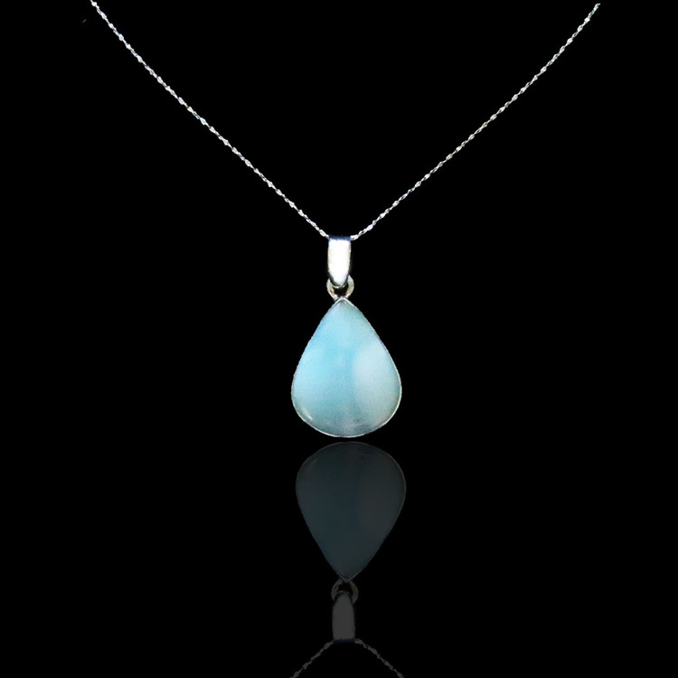 Larimar Pear Shaped Pendant & Chain