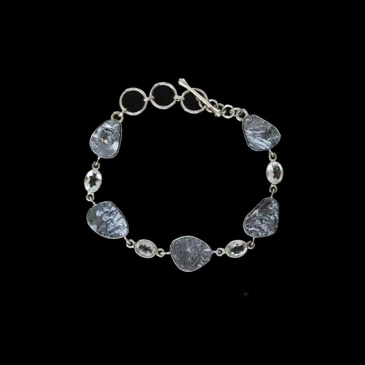 Silicon & Sterling Silver Link Bracelet