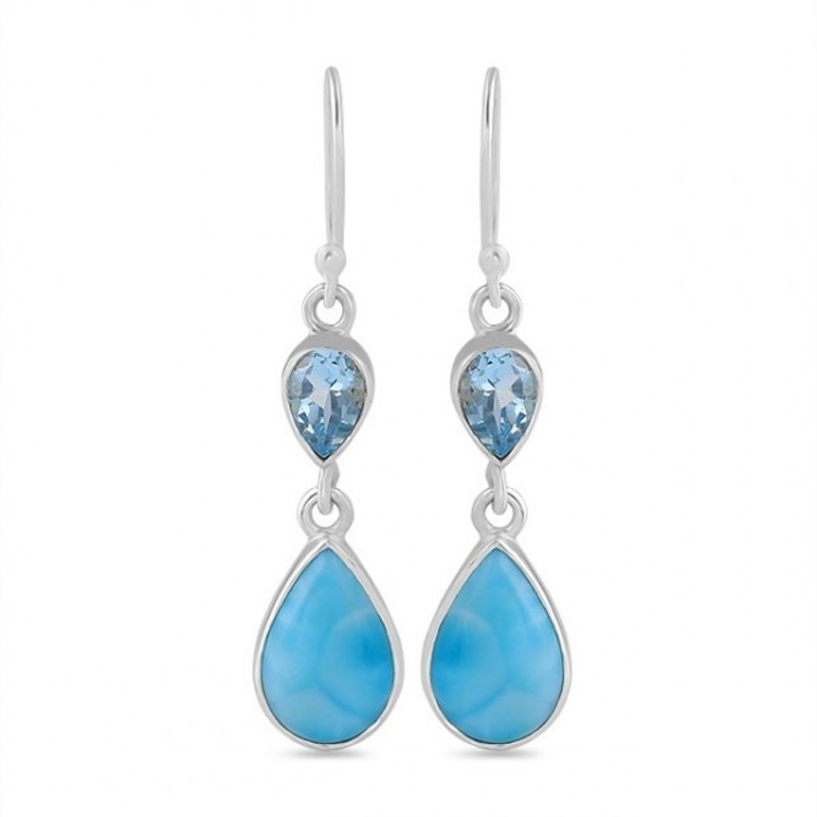 Larimar & Blue Topaz Drop Earrings in Sterling Silver