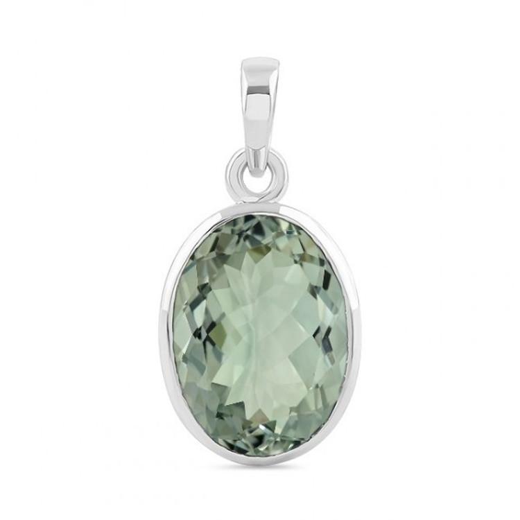 Green Amethyst & Sterling Silver Pendant & Chain