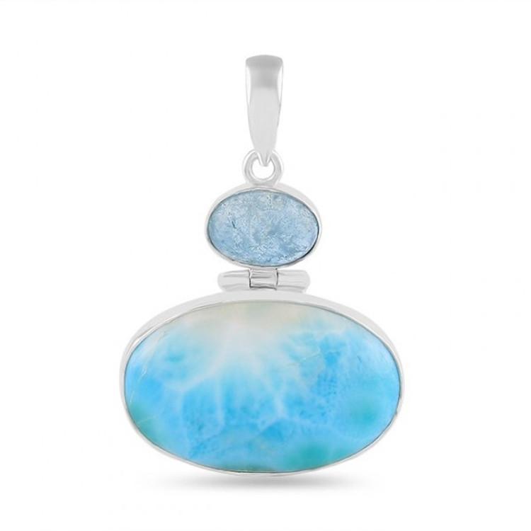 Larimar & Moon Stone Sterling Silver Pendant & Chain