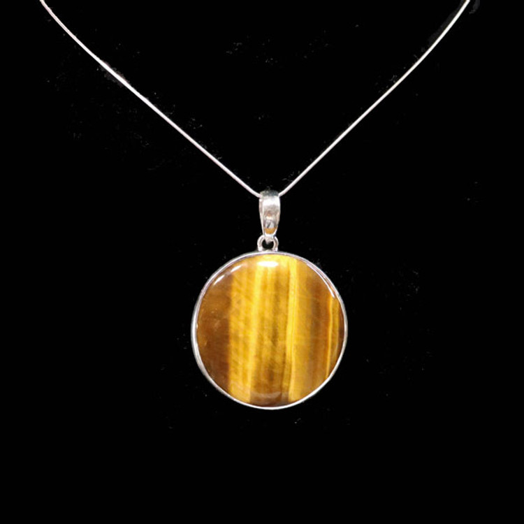 Round Tiger Eye & Sterling Silver Pendant & Chain