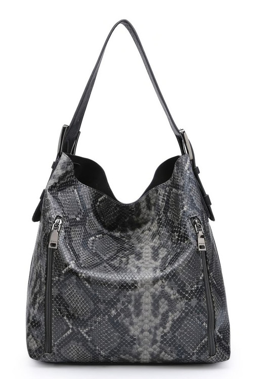 Concealed Carry Tote & Crossbody Set - Charcoal Python