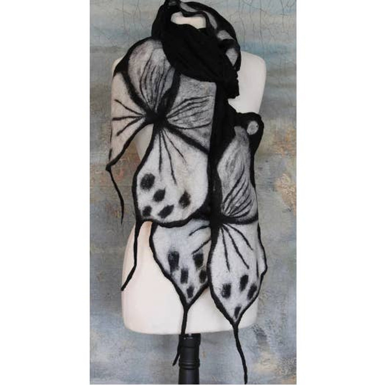 Nepalese Handmade Felted Butterfly Scarf