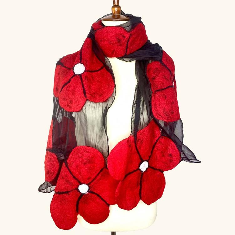 Nepalese Handmade Felted Winter Flower Scarf