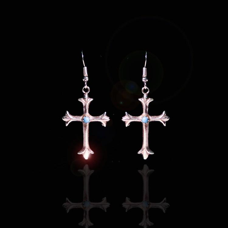 Luyu Sterling Silver Cactus Flower Cross Earrings