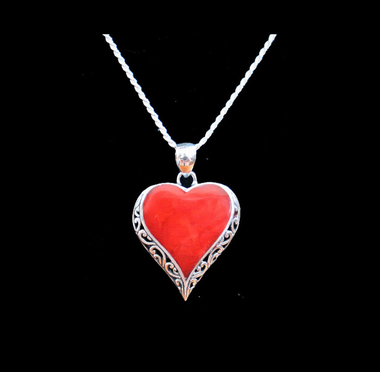 Cinta Sterling Silver & Coral Heart Shape Pendant & Chain