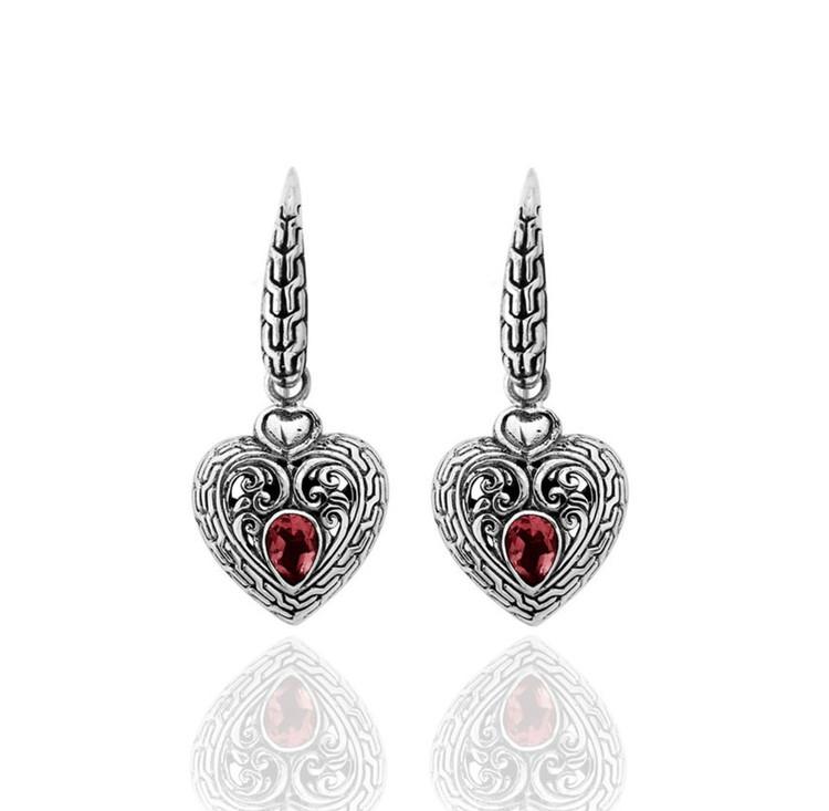 Cinta Sterling Silver & Garnet Heart-Shaped Earrings
