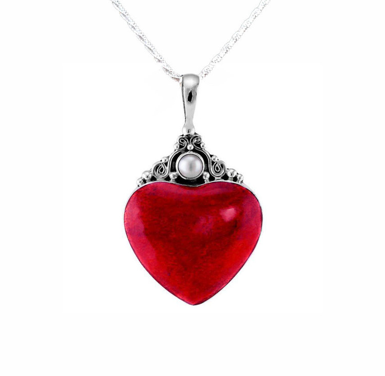 Cinta Sterling Silver & Coral Heart with Mother of Pearl Accent Stone