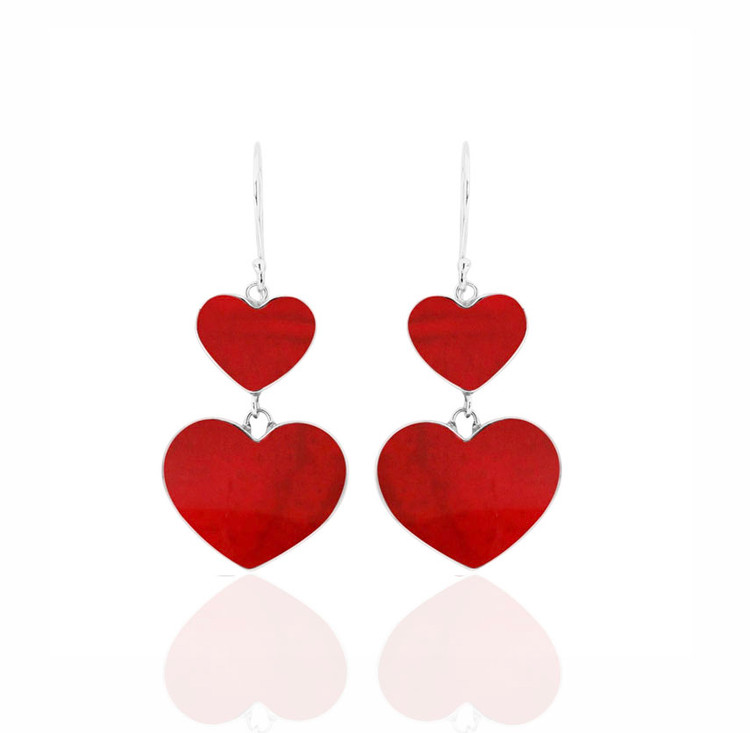 Cinta Sterling Silver & Coral Double Heart Shaped Earrings