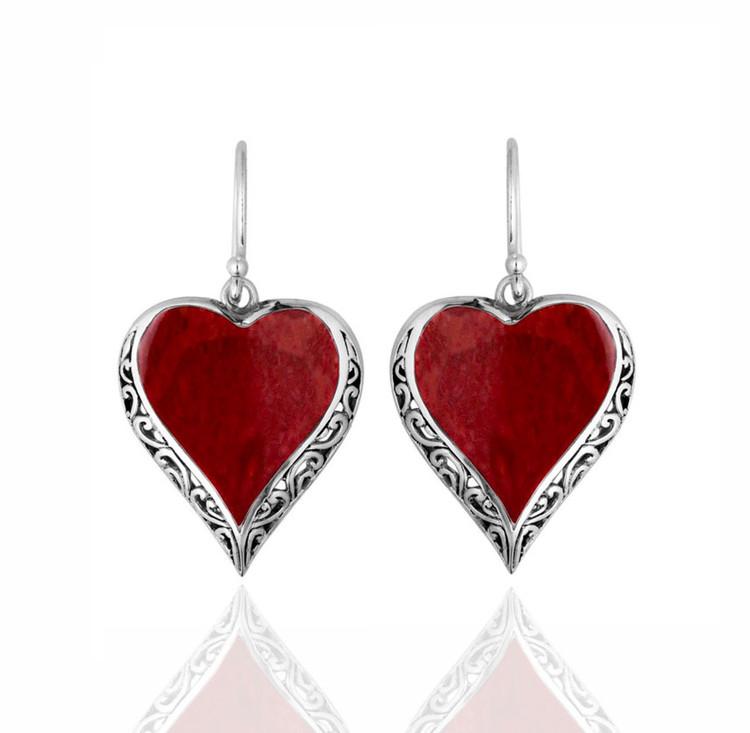 Cinta Sterling Silver & Coral Heart Shaped Earrings