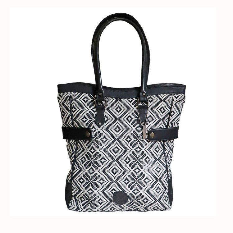 Diamond & Floral Large Jacquard Tote with Genuine Leather