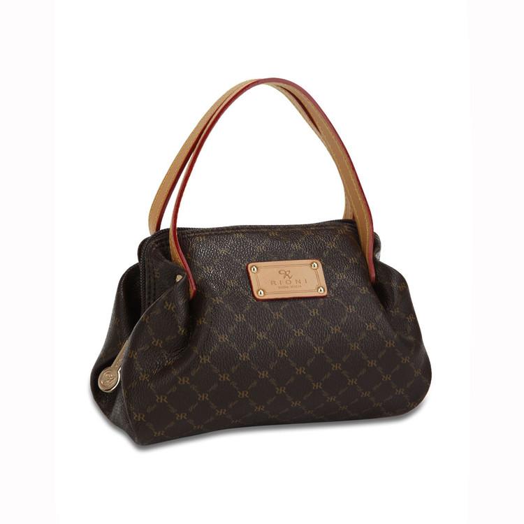 Rioni Brown Signature Petite Ruffle Pleat Handbag