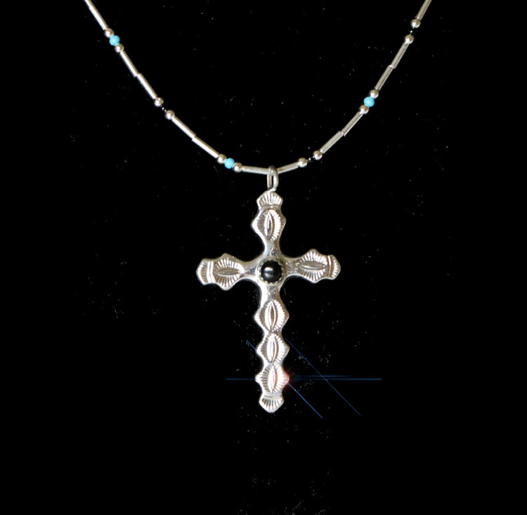 Luyu Sterling Silver & Onyx Cross on Beaded Necklace
