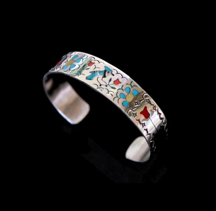 Sterling Silver Inlaid Blue Jay Cuff Bracelet