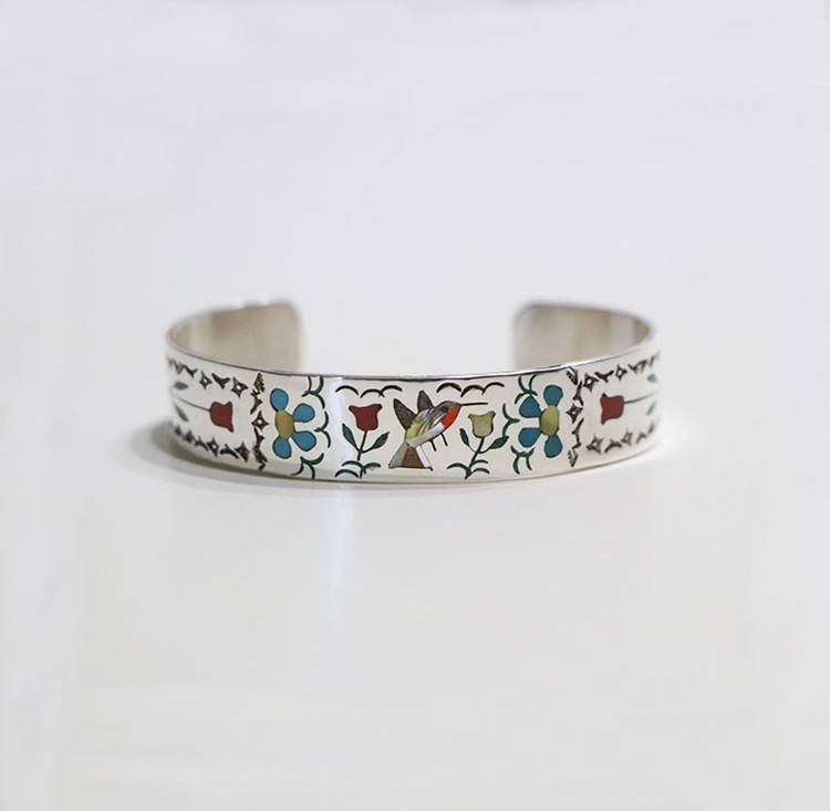 Sterling Silver Inlaid Humming Bird Cuff Bracelet