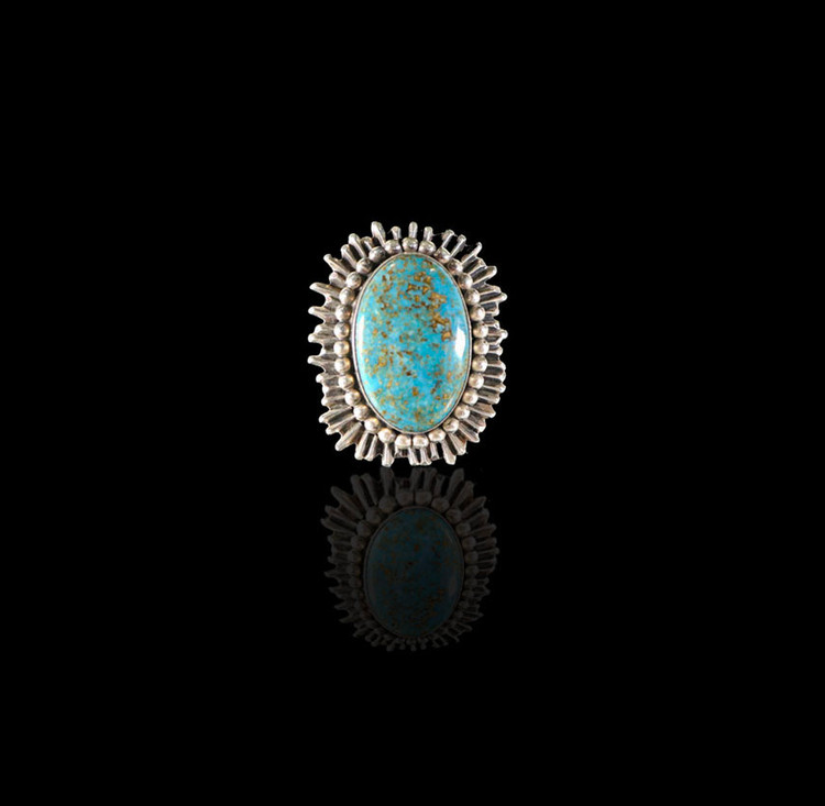 Lana Sun Ray Oblong Turquoise & Sterling Silver Ring Size 7