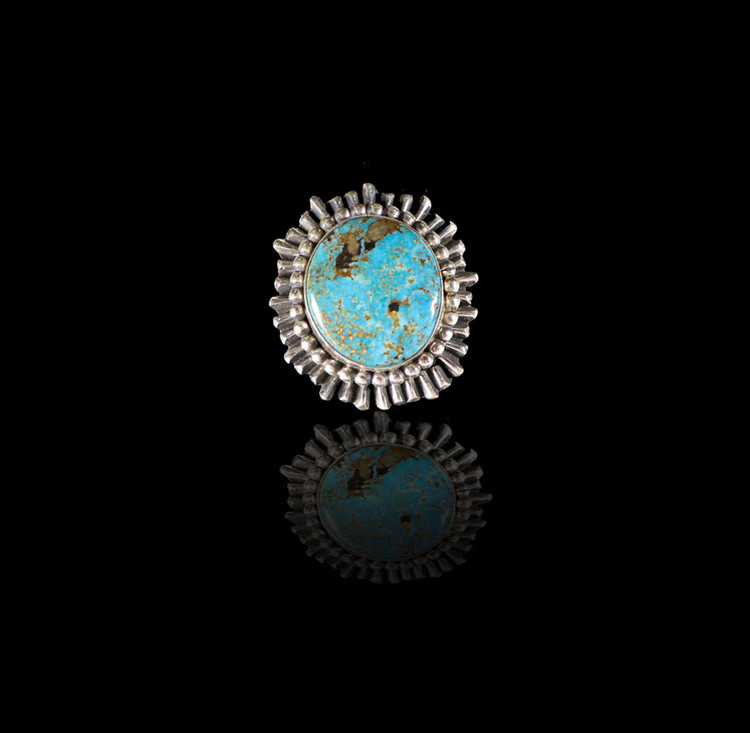 Lana Round Sun Ray Turquoise & Sterling Silver Ring Size 7.5