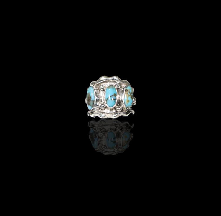 Dashana Kingman Turquoise & Sterling Silver Ring Size 6.5