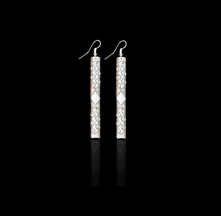 Aiyana Big Mountain Sterling Silver Long Bar Earrings
