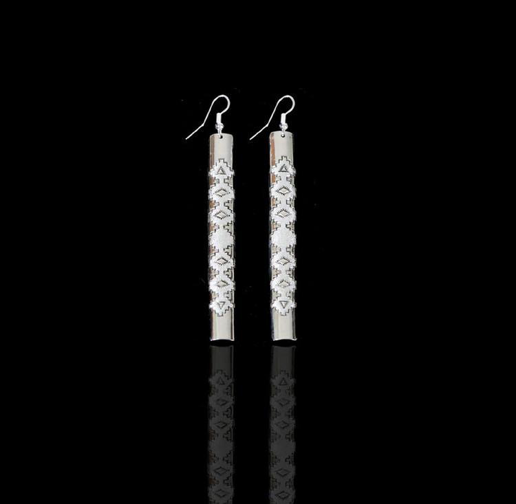 Aiyana Big Sky Sterling Silver Long Bar Earrings
