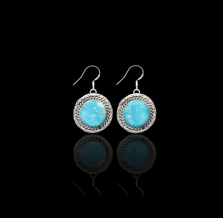 Lana Pilot Mountain Turquoise Round Earrings