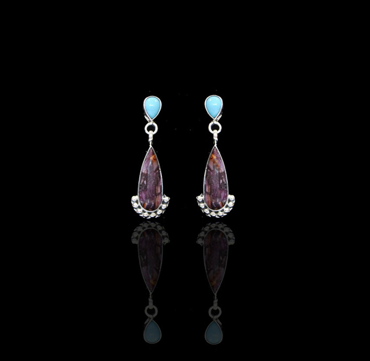 Ashena Turquoise & Spiny Oyster Drop Earrings