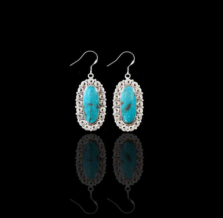 Lana Kingman Turquoise & Sterling Silver Drop Earrings