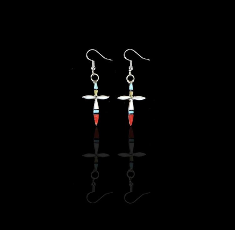 Fala Multi-Stone Inlay Cross Earrings